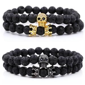 Luxury 2Pcs/Set  Lava Stone Bead Pave CZ Skull Crown Bracelet Mens Women Jewelry