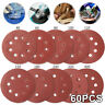 "60pc 125mm 5"" Sanding Discs Pads 40-400 Mix Orbital Sander Hook Loop Sandpaper"