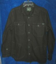 Woolrich Men's heavy cotton Shirt/Light Jacket sz L Button up 4-Pocket Black