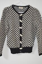 Dia North of Boston Black/White Check Handknit Button Cardigan Sweater Size M