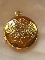 Estate Etched Floral Goldtone Round Locket Pendant - 1 x 0.75 inches including