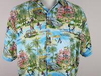 Rima Mens XL Hawaiian Caribbean Button Front Shirt Palm Surf Woody Tiki Beach