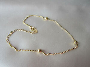 18K Yellow Gold Very Fine Anklet 10 Inch Bead Chain w/balls  2.2 gr  not scrap