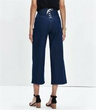 Madewell High Rise Wide Leg Crop Lace Up Jean, Dark Wash - Size 26