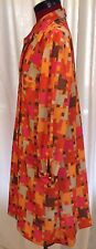 Vintage 60s Mod A Line Dress Puzzle Day Glo Psychedelic Pink Orange Brown Groovy