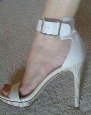 Calvin Klein White Ankle Strap Taupe Wood Look Heel and Platform Silver Buckle S