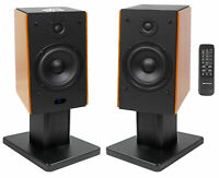 "(2) Rockville HD5 5"" Powered Bluetooth Bookshelf Home Theater Speakers+Stands"