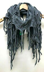 Boho hippy goth GREY tassel LETTUCE OF LONDON warm trendy scarf wrap gift