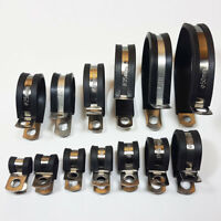 24mm Mild Steel Zinc Plated W1 Cable rubber lined Hose Clamp P CLIP 50 Pack