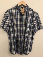 Original Penguin Shirt Button Down Short Sleeve Plaid Mens XL Slim Fit NWT Blue