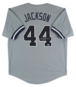 Reggie Jackson Authentic Signed Grey Pro Style Jersey Autographed BAS Witnessed
