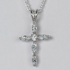 Italian Religious Charm 925 Italy New Sterling Silver Marquis Cz Cross Pendant