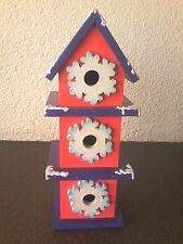 "13"" Wintertime Country Folkart Painted Wood Pink/Purple Snowy Roof Bird House"