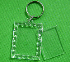5 Transparent Blank Insert Photo Picture Frame Keyring Split Ring keychain