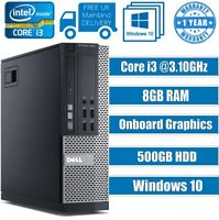 FAST DELL COMPUTER DESKTOP TOWER PC INTEL CORE i3 8GB RAM 500GB HDD Windows 10