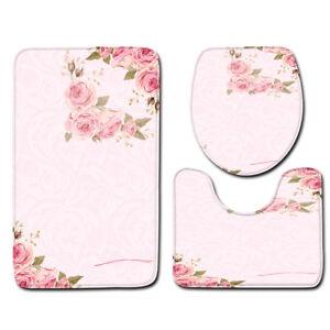 LE 3PCS/Set Girls Pink Series Bathroom Non-Slip Rug+Lid Toilet Cover+Bath Mat
