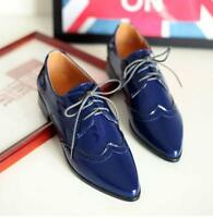 women Chic Brogue pointed toe oxfords wing tips lace up patent leather shoes @SY