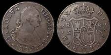 pci754) SPAIN  Carolus IIII DEI G 8 Reales 1803 SEVILLE MINT Uncleaned