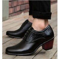 Mens cuban Heel dress oxfords Brogue formal lace up Wedding Business shoes black