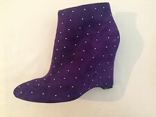 new RRP $230 WITTNER ALL LEATHER SUEDE SDUDDED PURPLE BOOTS sz 42