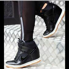 Nike Womens hidden Wedge Heel Sneakers Shoes Black Patent Leather hi sky dunk  6