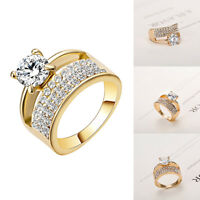 Women Classic Cubic Zircon Finger Rings Pave Setting Crystal Wedding Jewelry US