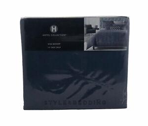 "Hotel Collection Cubist Indigo Blue KING 16"" Bedskirt Dust Ruffle $150"