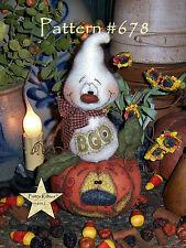 """Patti's Ratties Primitive Halloween Pumpkin Ghost 8"""" Doll Paper Pattern #678"""