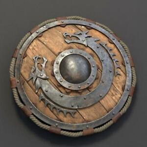24 Inch Medieval Warrior Wooden Viking Shield Round Shield Dragon Face Viking