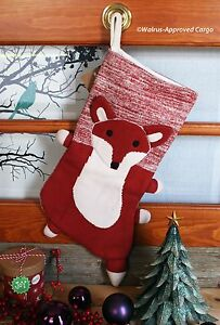 CRATE & BARREL KIDS WOODLAND FOX STOCKING -NWT- SLY DÉCOR FOR HOLIDAY FUN!