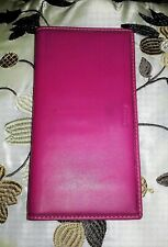 Coach Checkbook Cover Fuschia Pink Leather Large Stitches Trim Wallet