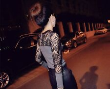 Crew Neck Jumper - Knitted with Black Lace Sleeves - Small