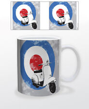 MOD SCOOTER WITH TARGET 11 OZ COFFEE MUG TEA CUP DECOR ART BLINK VESPA MOTOR FUN