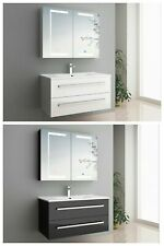 Badmöbel-Set Hochglanz Schwarz oder weiß LED-Touch-Spiegelschrank 3-tlg. Sylt