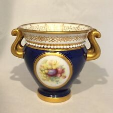 Royal Worcester porcelain URN Fruit plum grapes painted jeweling cobalt 1896