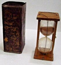 Rare Old Wooden Original Square Hourglass Sand Glass Timer Sand Clock Watch