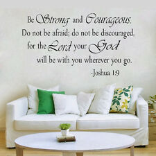 USA BE STRONG AND COURAGEOUS JOSHUA 1:9 QUOTE RELIGIOUS VINYL DECAL WALL STICKER