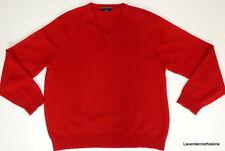 Club Room Estate Cashmere Men's XL Deep True Red 100% Cashmere V Neck Sweater