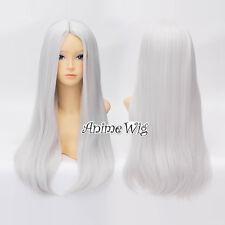 For Hero Storm Ororo Munroe 60cm Lolita Lady Silver White Straight Cosplay Wig