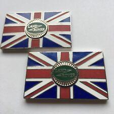 Pair of LAND ROVER Union Jack GB Brass Enamel Classic Car Badges - Self Adhesive