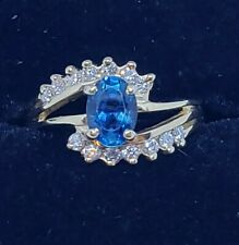 Blue Topaz And Diamond Ring 14k- 7x5 size 6 1/4