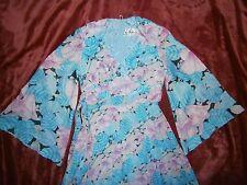 70er Jahre Vera Mont Kleid Abendkleid lang Chiffon flieder hellblau Gr. 34 36