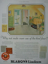 1925 Blabon's Linoleum Flooring Third Floor Bedroom Vintage Print Ad 11848