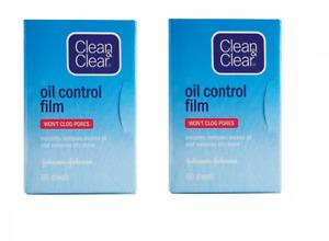 2 X 60 Pack Clean & Clear Oil Control Film,Silky Blotting Paper, Johnson&Johnson