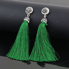 Fashion Charm Women Bohemia Crystal Silk Tassel Fringe Dangle Ear Stud Earrings