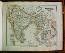 1849 MEYER'S ZEITUNGS-ATLAS=GEOGRAPHICAL MAP:OSTINDIEN - INDIA ORIENTALE,ETNA