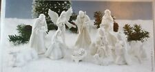 Sparkle And Shimmer Handcrafted 11 Piece White and Gold Porcelain Nativity Set
