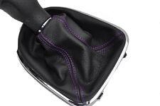 FITS SEAT LEON TOLEDO ALTEA 2006 TO 2011 BLACK GEAR GAITER purple stitching