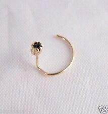 En or 9 carats rond petit minuscule 2mm Real Black Saphir Claw set Bend Stud Nez de fil n