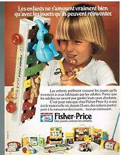 Publicité Advertising 1977 Jeu Jouets Fisher-Price